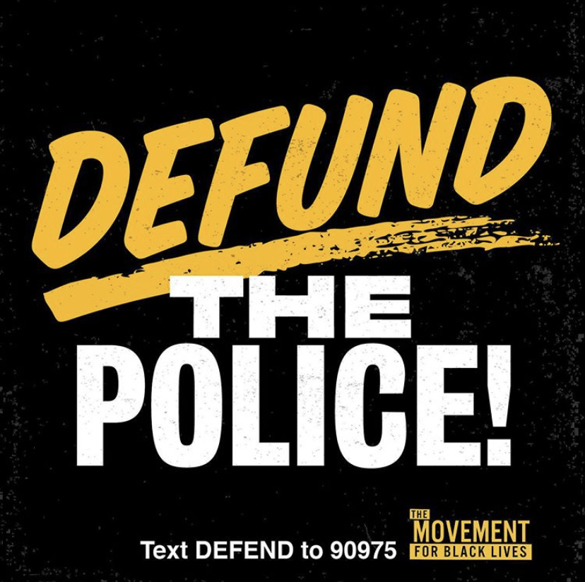 "Black square with yellow and white text that reads ""Defund the Police"""